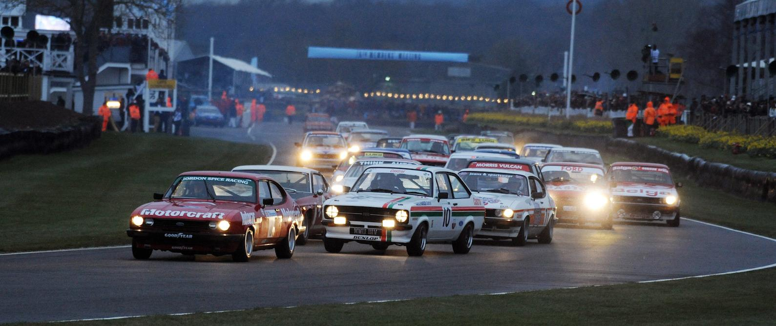 Action in the snow at Goodwood 76th Members' Meeting